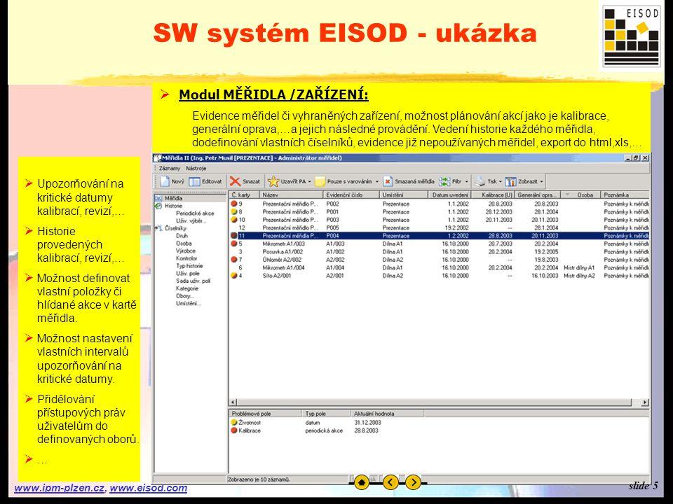 www.ipm-plzen.czwww.ipm-plzen.cz, www.eisod.comwww.eisod.com SW systém EISOD - ukázka  Přihlášení do systému: Zadání uživatelského jména a hesla, které bylo uživateli přiděleno administrátorem systému.