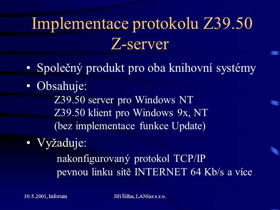 30.5.2001, InforumJiří Šilha, LANius s.r.o.