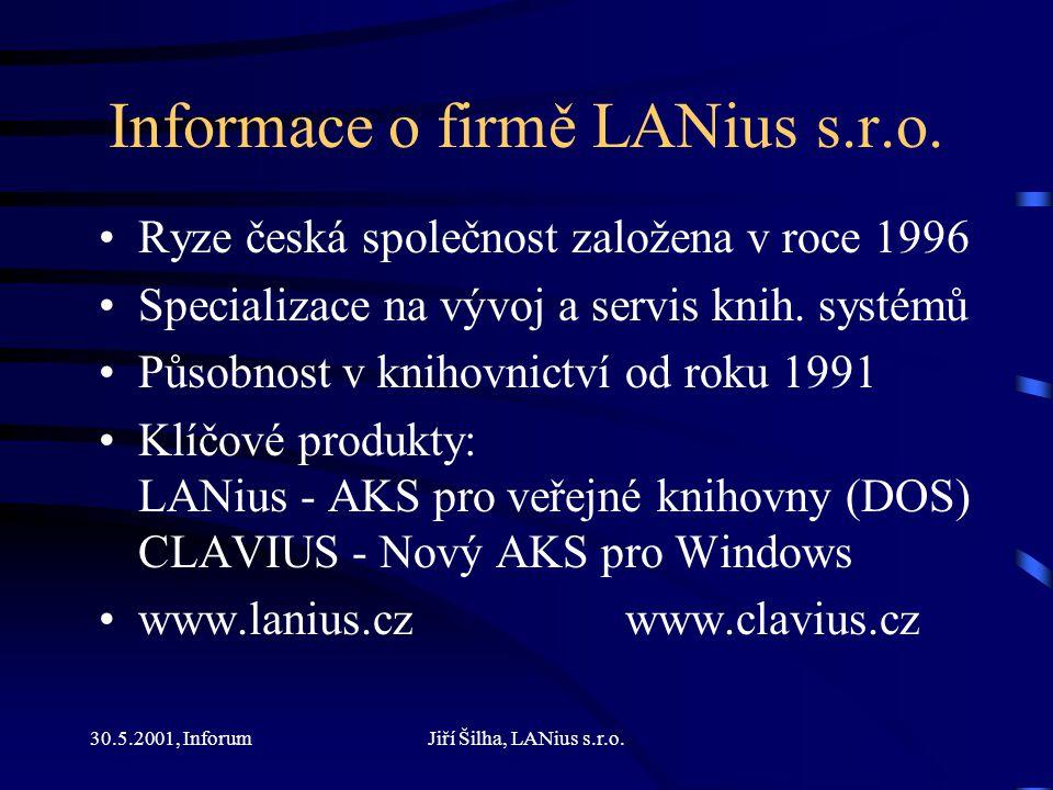 30.5.2001, InforumJiří Šilha, LANius s.r.o. Informace o firmě LANius s.r.o.