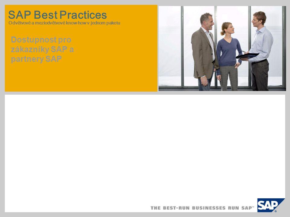 SAP Best Practices Odvětvové a meziodvětvové know-how v jednom paketu Dostupnost pro zákazníky SAP a partnery SAP