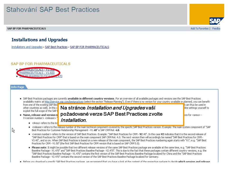 Na stránce Installation and Upgrades vaší požadované verze SAP Best Practices zvolte Installation.