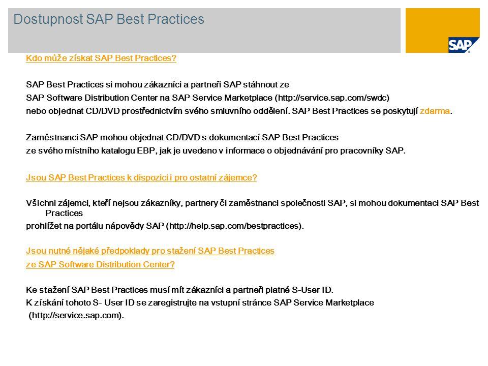 Kdo může získat SAP Best Practices? SAP Best Practices si mohou zákazníci a partneři SAP stáhnout ze SAP Software Distribution Center na SAP Service M