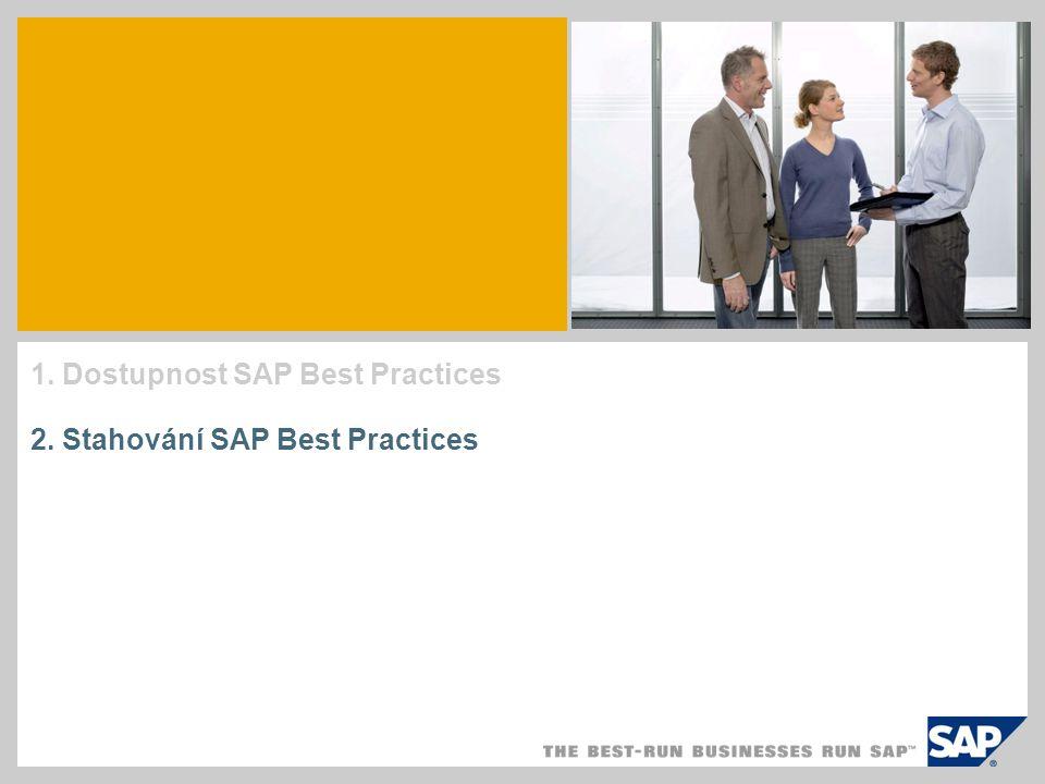 1. Dostupnost SAP Best Practices 2. Stahování SAP Best Practices