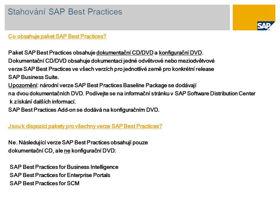 Co obsahuje paket SAP Best Practices? Paket SAP Best Practices obsahuje dokumentační CD/DVD a konfigurační DVD. Dokumentační CD/DVD obsahuje dokumenta