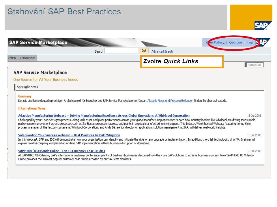 Zvolte Quick Links Stahování SAP Best Practices