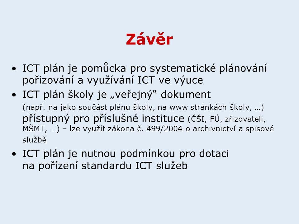 """Závěr ICT plán je pomůcka pro systematické plánování pořizování a využívání ICT ve výuce ICT plán školy je """"veřejný"""" dokument (např. na jako součást p"""
