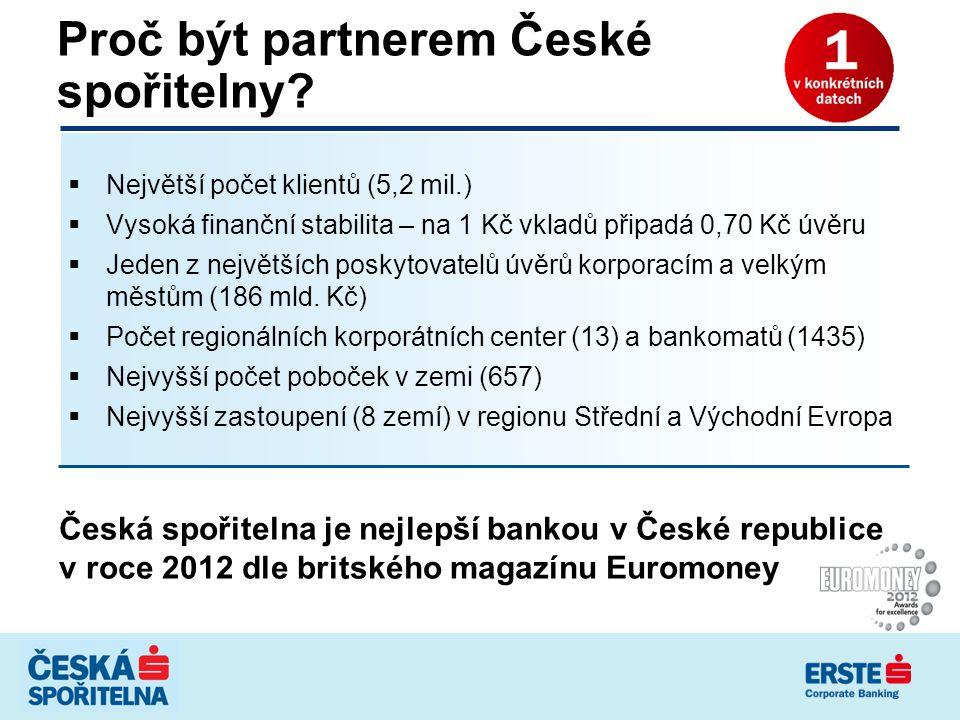 Proč být partnerem České spořitelny?  Největší počet klientů (5,2 mil.)  Vysoká finanční stabilita – na 1 Kč vkladů připadá 0,70 Kč úvěru  Jeden z