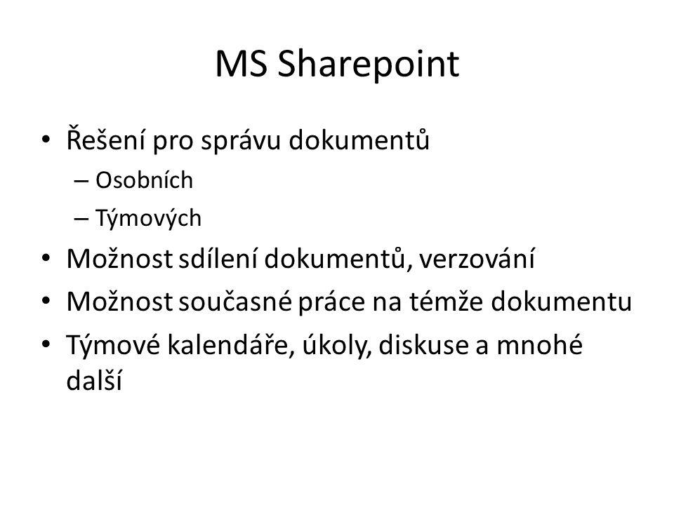 MS Sharepoint Řešení pro správu dokumentů – Osobních – Týmových Možnost sdílení dokumentů, verzování Možnost současné práce na témže dokumentu Týmové kalendáře, úkoly, diskuse a mnohé další
