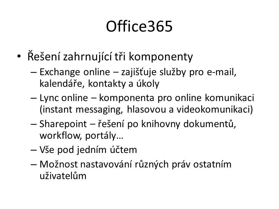 Office365 Řešení zahrnující tři komponenty – Exchange online – zajišťuje služby pro e-mail, kalendáře, kontakty a úkoly – Lync online – komponenta pro online komunikaci (instant messaging, hlasovou a videokomunikaci) – Sharepoint – řešení po knihovny dokumentů, workflow, portály… – Vše pod jedním účtem – Možnost nastavování různých práv ostatním uživatelům