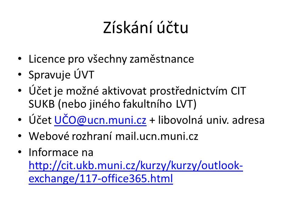 Získání účtu Licence pro všechny zaměstnance Spravuje ÚVT Účet je možné aktivovat prostřednictvím CIT SUKB (nebo jiného fakultního LVT) Účet UČO@ucn.muni.cz + libovolná univ.