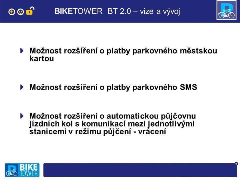BIKETOWER BT 2.0 – vize a vývoj Možnost rozšíření o platby parkovného městskou kartou Možnost rozšíření o platby parkovného SMS Možnost rozšíření o automatickou půjčovnu jízdních kol s komunikací mezi jednotlivými stanicemi v režimu půjčení - vrácení
