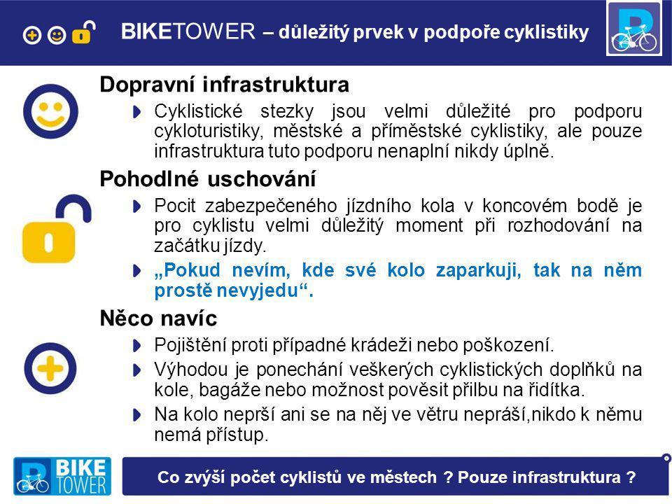 BIKETOWER – důležitý prvek v podpoře cyklistiky Dopravní infrastruktura Cyklistické stezky jsou velmi důležité pro podporu cykloturistiky, městské a příměstské cyklistiky, ale pouze infrastruktura tuto podporu nenaplní nikdy úplně.