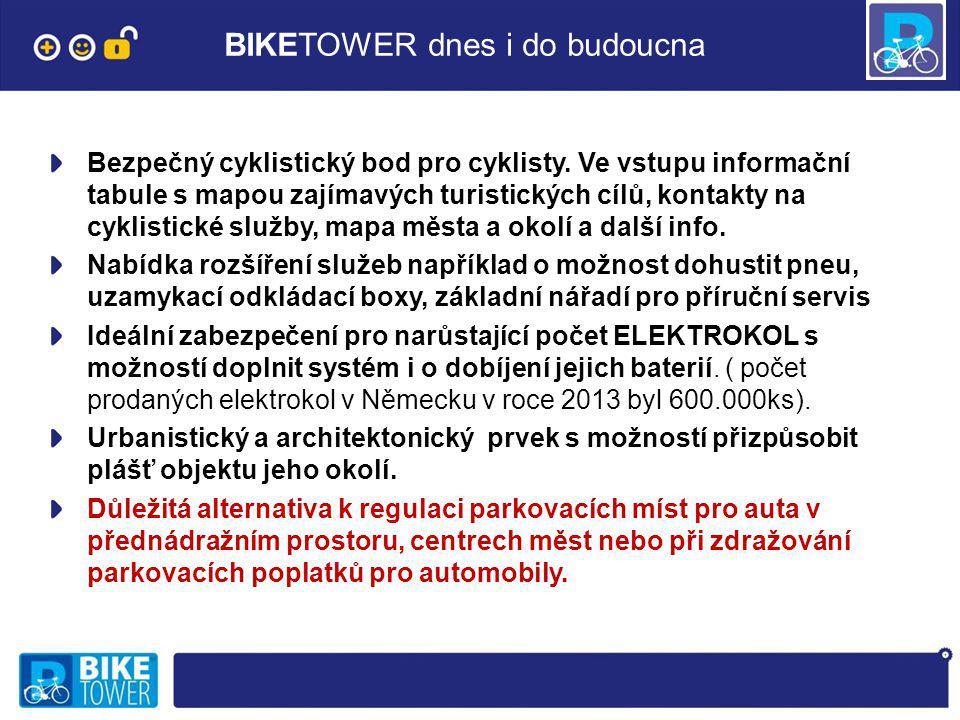 BIKETOWER dnes i do budoucna Bezpečný cyklistický bod pro cyklisty. Ve vstupu informační tabule s mapou zajímavých turistických cílů, kontakty na cykl
