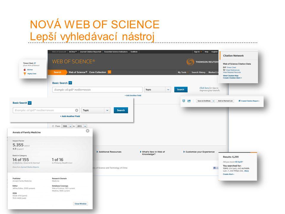 NOVÁ WEB OF SCIENCE Lepší vyhledávací nástroj