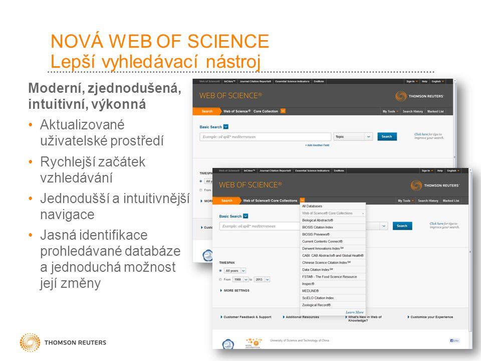 Moderní, zjednodušená, intuitivní, výkonná Aktualizované uživatelské prostředí Rychlejší začátek vzhledávání Jednodušší a intuitivnější navigace Jasná identifikace prohledávané databáze a jednoduchá možnost její změny NOVÁ WEB OF SCIENCE Lepší vyhledávací nástroj