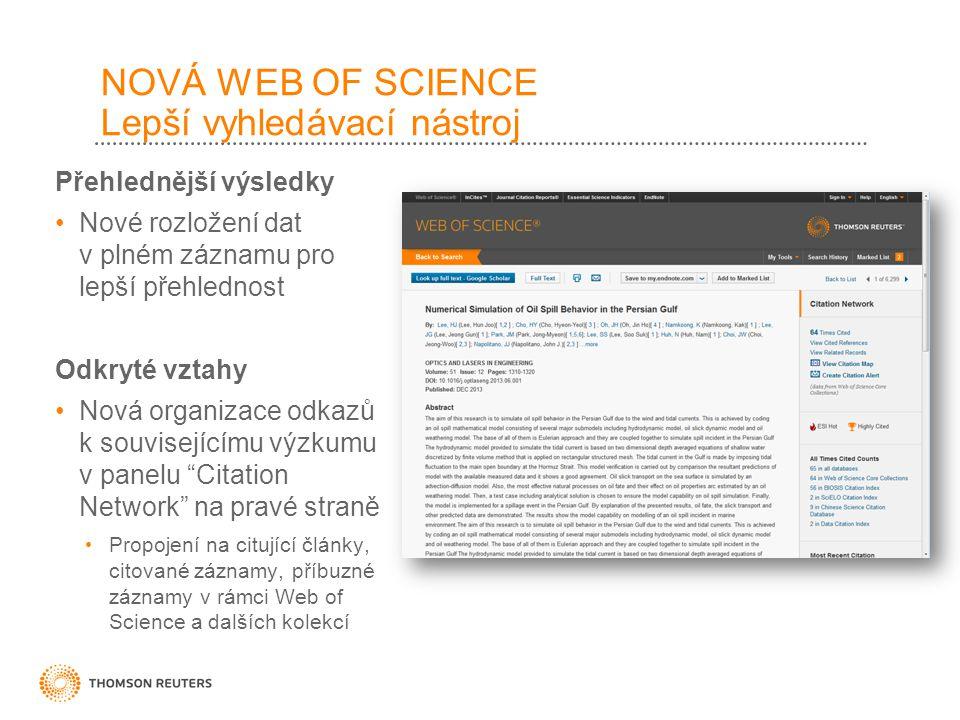 NOVÁ WEB OF SCIENCE Lepší vyhledávací nástroj Přehlednější výsledky Nové rozložení dat v plném záznamu pro lepší přehlednost Odkryté vztahy Nová organizace odkazů k souvisejícímu výzkumu v panelu Citation Network na pravé straně Propojení na citující články, citované záznamy, příbuzné záznamy v rámci Web of Science a dalších kolekcí
