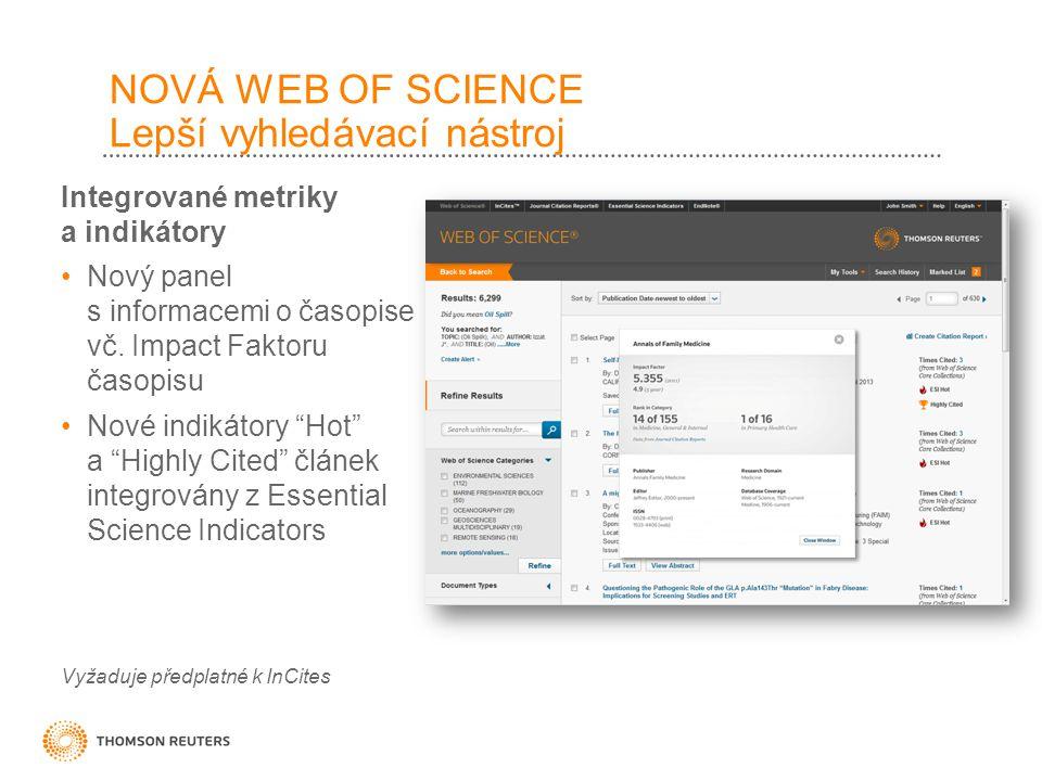 NOVÁ WEB OF SCIENCE Lepší vyhledávací nástroj Integrované metriky a indikátory Nový panel s informacemi o časopise vč.