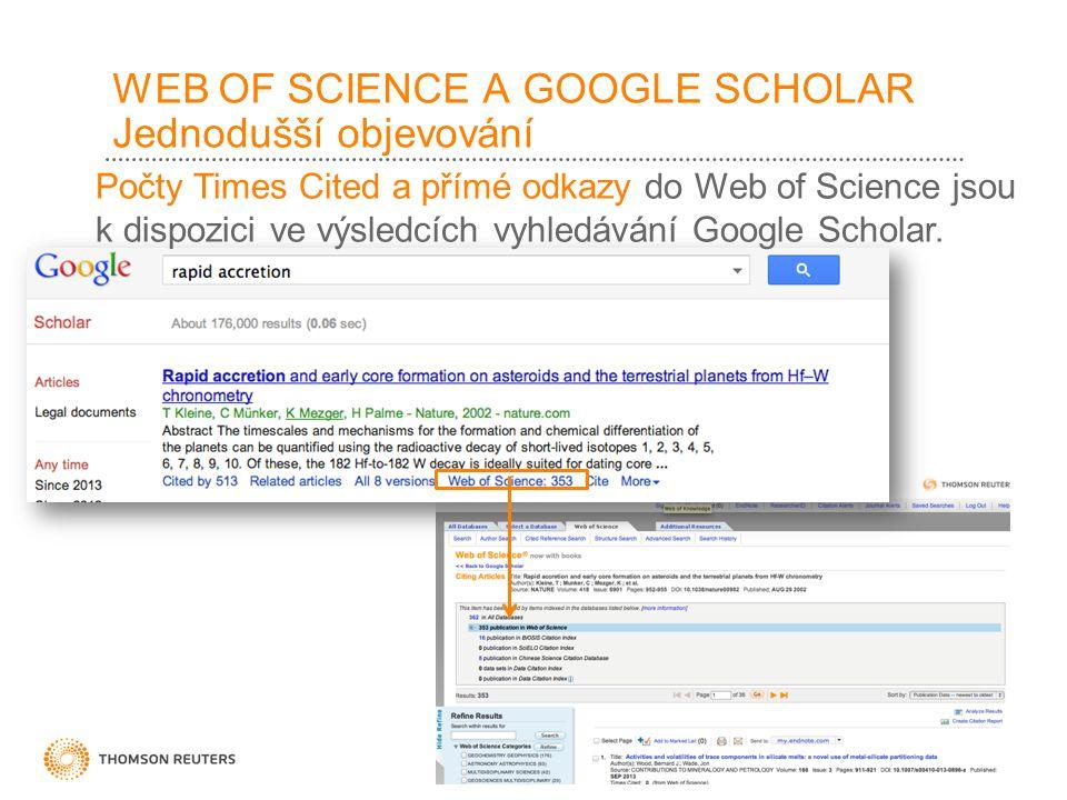 WEB OF SCIENCE A GOOGLE SCHOLAR Jednodušší objevování Počty Times Cited a přímé odkazy do Web of Science jsou k dispozici ve výsledcích vyhledávání Google Scholar.