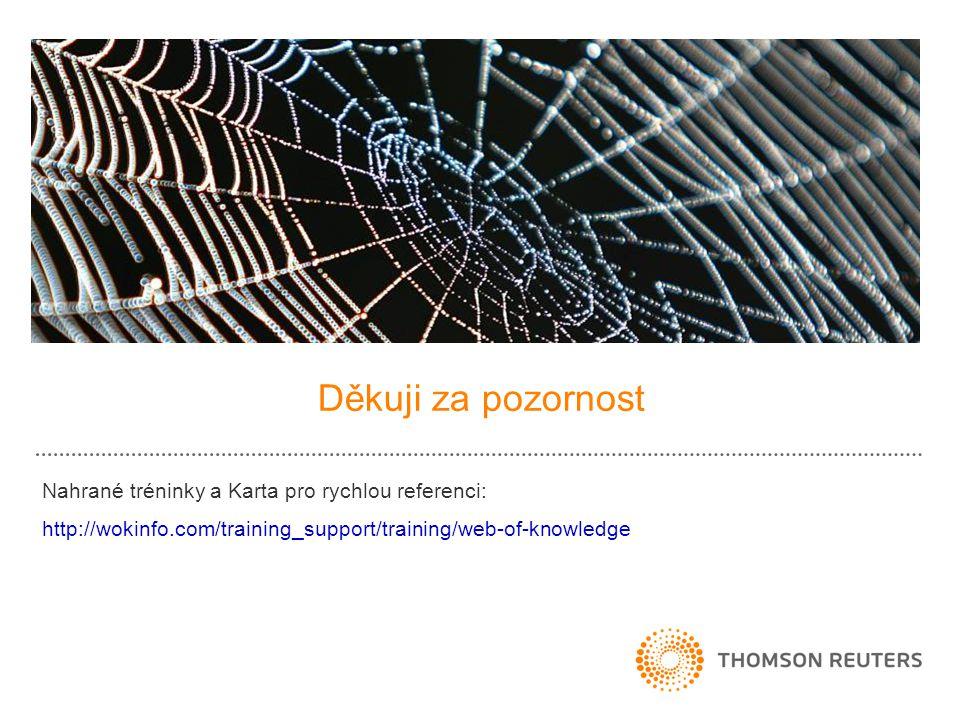 Děkuji za pozornost Nahrané tréninky a Karta pro rychlou referenci: http://wokinfo.com/training_support/training/web-of-knowledge