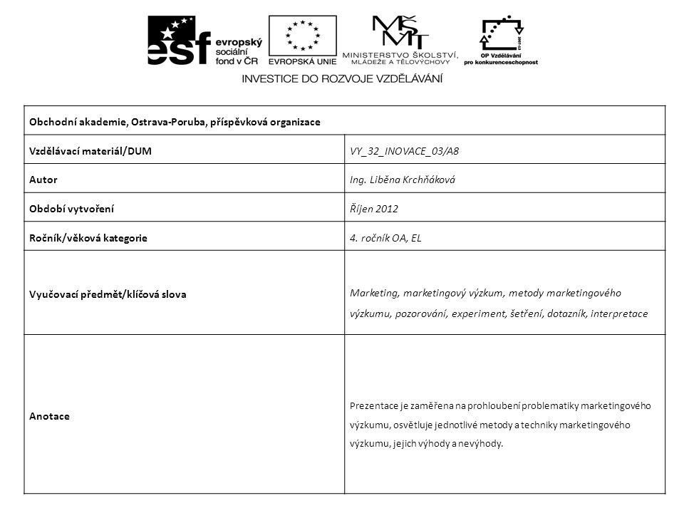 Marketing Metody marketingového výzkumu CZ.1.07/1.5.00/34.0025 Projekt je financován z prostředků ESF prostřednictvím Operačního programu Vzdělávání pro konkurenceschopnost a státním rozpočtem České republiky.