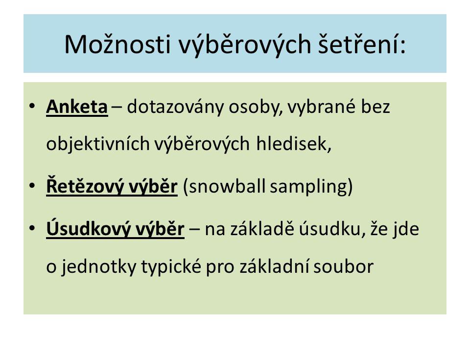 Možnosti výběrových šetření: Anketa – dotazovány osoby, vybrané bez objektivních výběrových hledisek, Řetězový výběr (snowball sampling) Úsudkový výběr – na základě úsudku, že jde o jednotky typické pro základní soubor