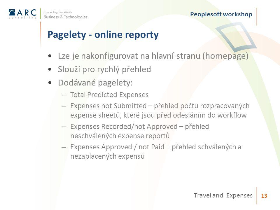 Lze je nakonfigurovat na hlavní stranu (homepage) Slouží pro rychlý přehled Dodávané pagelety: – Total Predicted Expenses – Expenses not Submitted – přehled počtu rozpracovaných expense sheetů, které jsou před odesláním do workflow – Expenses Recorded/not Approved – přehled neschválených expense reportů – Expenses Approved / not Paid – přehled schválených a nezaplacených expensů Pagelety - online reporty Peoplesoft workshop Travel and Expenses 13