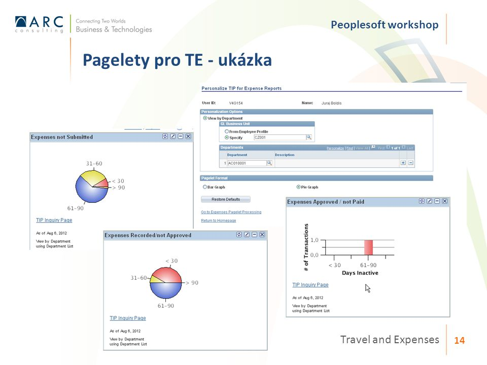 Pagelety pro TE - ukázka Travel and Expenses 14 Peoplesoft workshop