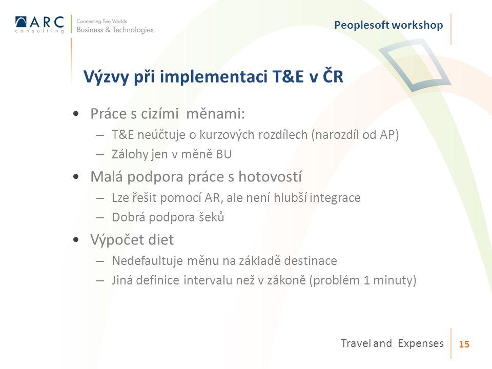 Výzvy při implementaci T&E v ČR Peoplesoft workshop Travel and Expenses 15 Práce s cizími měnami: – T&E neúčtuje o kurzových rozdílech (narozdíl od AP) – Zálohy jen v měně BU Malá podpora práce s hotovostí – Lze řešit pomocí AR, ale není hlubší integrace – Dobrá podpora šeků Výpočet diet – Nedefaultuje měnu na základě destinace – Jiná definice intervalu než v zákoně (problém 1 minuty)