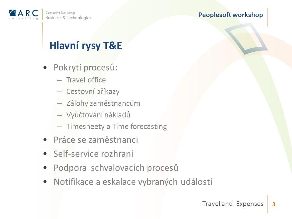Hlavní rysy T&E Peoplesoft workshop Travel and Expenses 3 Pokrytí procesů: – Travel office – Cestovní příkazy – Zálohy zaměstnancům – Vyúčtování nákladů – Timesheety a Time forecasting Práce se zaměstnanci Self-service rozhraní Podpora schvalovacích procesů Notifikace a eskalace vybraných událostí