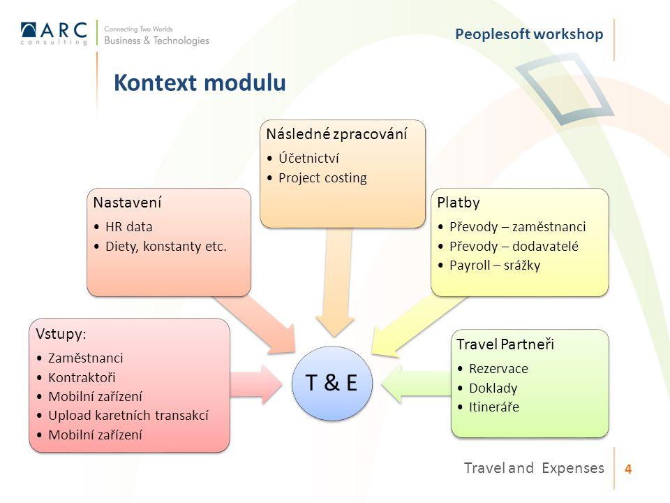 T & E Vstupy : Zaměstnanci Kontraktoři Mobilní zařízení Upload karetních transakcí Mobilní zařízení Nastavení HR data Diety, konstanty etc.