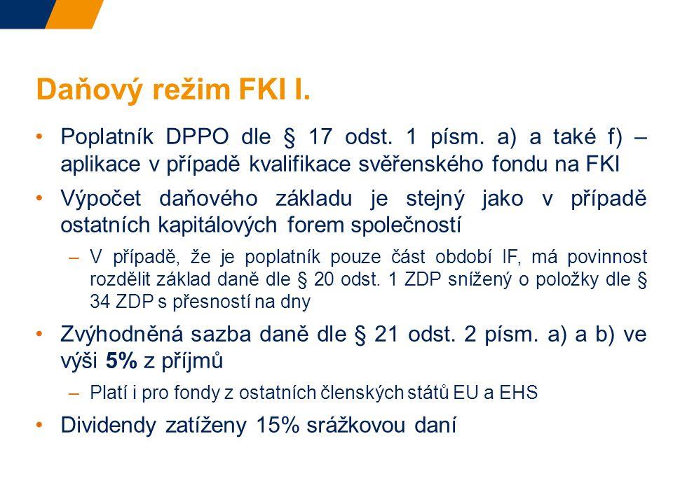 Daňový režim FKI I.Poplatník DPPO dle § 17 odst. 1 písm.