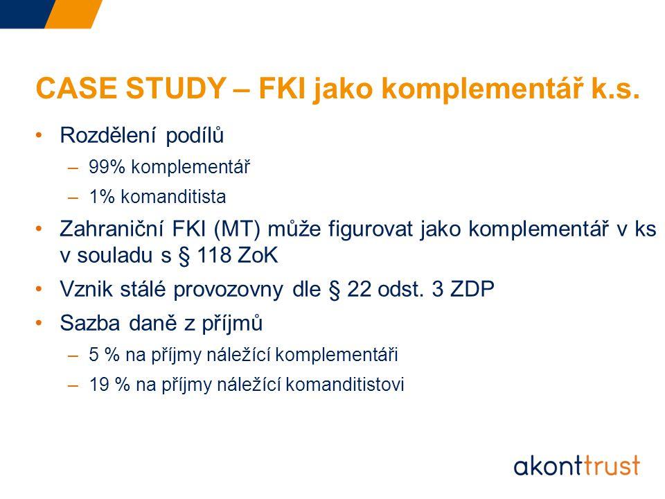 CASE STUDY – FKI jako komplementář k.s.