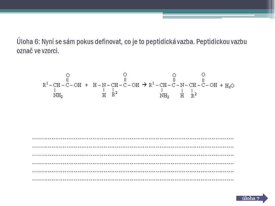 Úloha 6: Nyní se sám pokus definovat, co je to peptidická vazba. Peptidickou vazbu označ ve vzorci. úloha 7...........................................