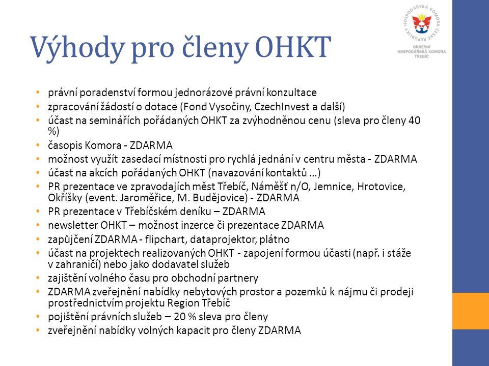 Výhody pro členy OHKT právní poradenství formou jednorázové právní konzultace zpracování žádostí o dotace (Fond Vysočiny, CzechInvest a další) účast n