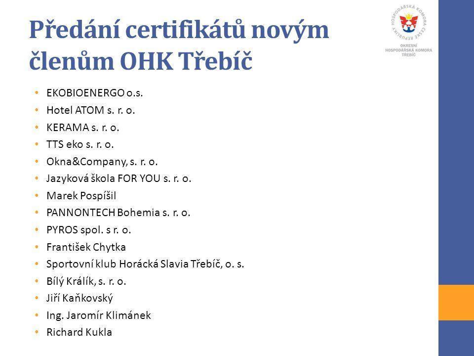 Předání certifikátů novým členům OHK Třebíč EKOBIOENERGO o.s. Hotel ATOM s. r. o. KERAMA s. r. o. TTS eko s. r. o. Okna&Company, s. r. o. Jazyková ško