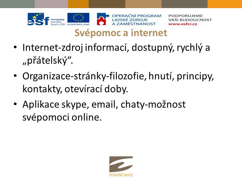 """Svépomoc a internet Internet-zdroj informací, dostupný, rychlý a """"přátelský"""". Organizace-stránky-filozofie, hnutí, principy, kontakty, otevírací doby."""