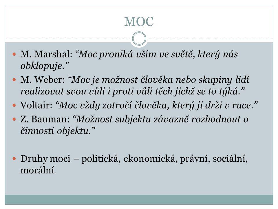 """MOC M. Marshal: """"Moc proniká vším ve světě, který nás obklopuje."""" M. Weber: """"Moc je možnost člověka nebo skupiny lidí realizovat svou vůli i proti vůl"""