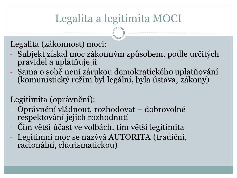 Legalita a legitimita MOCI Legalita (zákonnost) moci: - Subjekt získal moc zákonným způsobem, podle určitých pravidel a uplatňuje ji - Sama o sobě nen