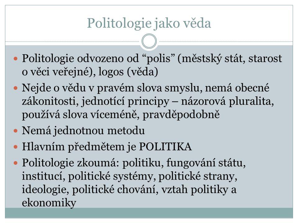 """Politologie jako věda Politologie odvozeno od """"polis"""" (městský stát, starost o věci veřejné), logos (věda) Nejde o vědu v pravém slova smyslu, nemá ob"""