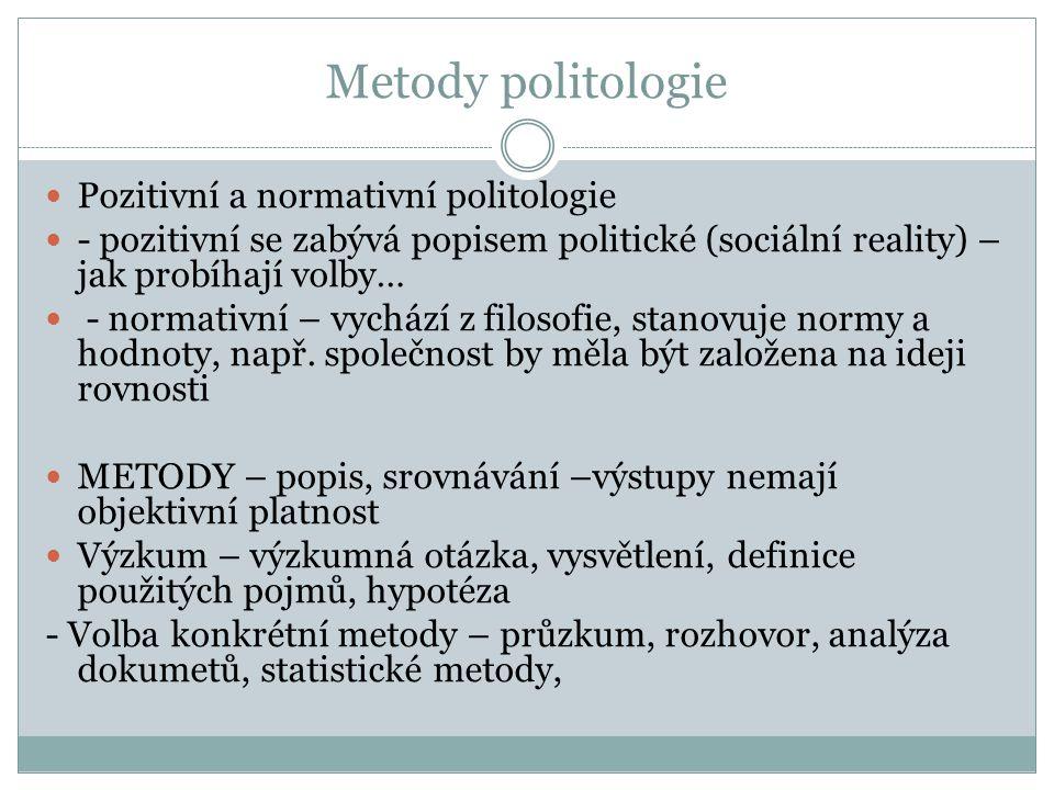Metody politologie Pozitivní a normativní politologie - pozitivní se zabývá popisem politické (sociální reality) – jak probíhají volby… - normativní –