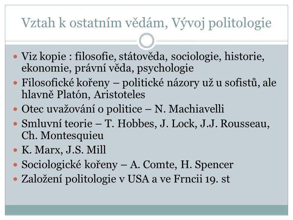 Vztah k ostatním vědám, Vývoj politologie Viz kopie : filosofie, státověda, sociologie, historie, ekonomie, právní věda, psychologie Filosofické kořen