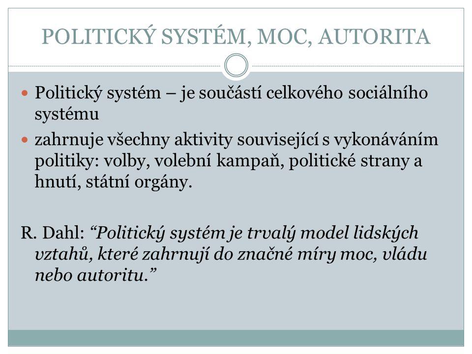 POLITICKÝ SYSTÉM, MOC, AUTORITA Politický systém – je součástí celkového sociálního systému zahrnuje všechny aktivity související s vykonáváním politi
