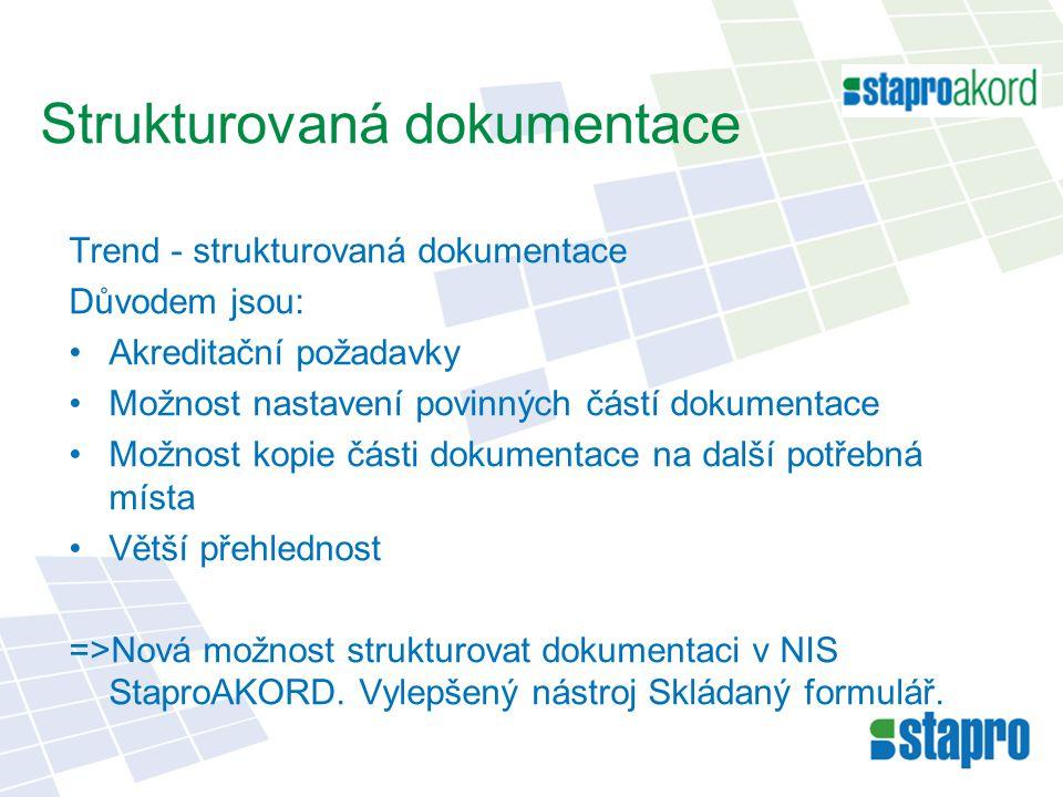 Strukturovaná dokumentace Trend - strukturovaná dokumentace Důvodem jsou: Akreditační požadavky Možnost nastavení povinných částí dokumentace Možnost