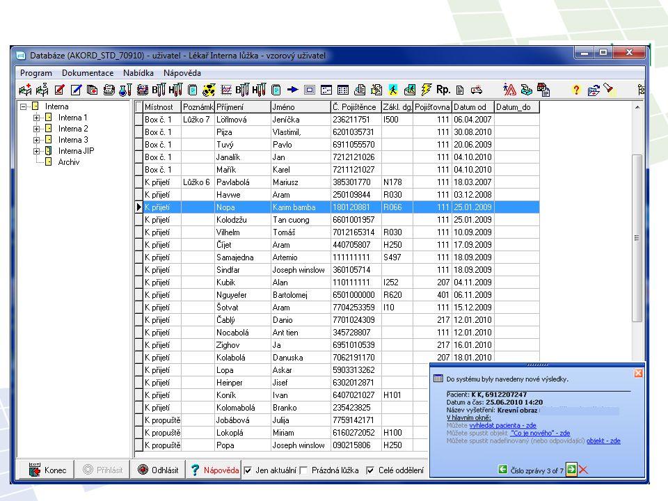 Velká možnost konfigurace Příklady použití: Zprávy o došlých statimových nálezech Informace o vyžádaném konziliu Zprávy o odstávce systému Informace o naplánovaném termínu vyhotovení dokumentace Upozornění na nastavenou událost … Alerty