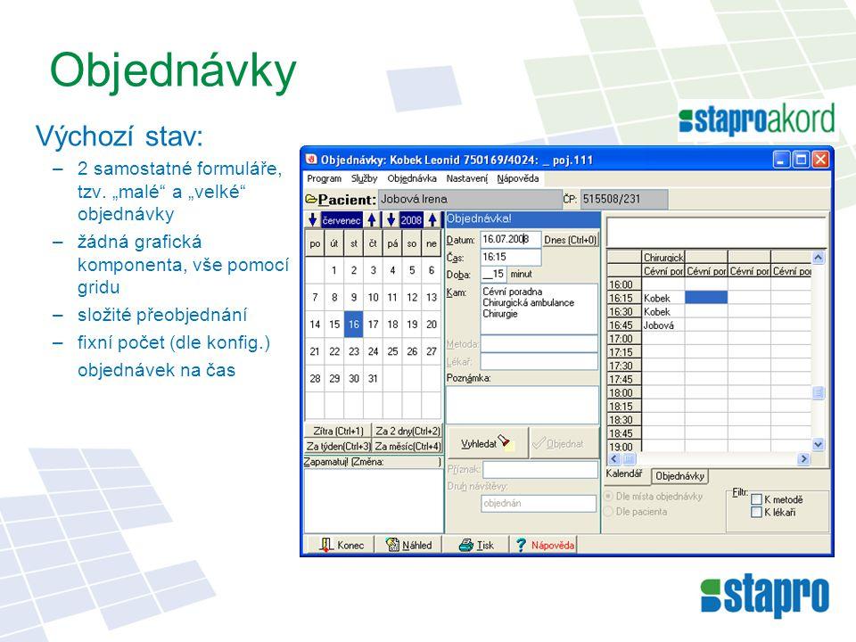 """Objednávky Výchozí stav: –2 samostatné formuláře, tzv. """"malé"""" a """"velké"""" objednávky –žádná grafická komponenta, vše pomocí gridu –složité přeobjednání"""