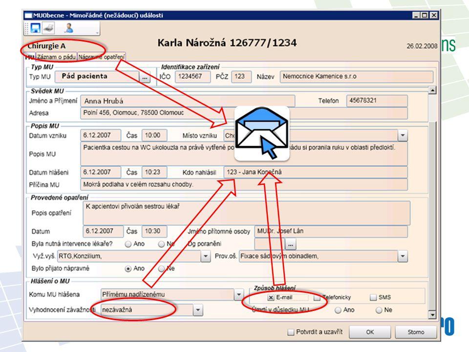 Nemocniční infekce Tvorba speciálních strukturovaných formulářů pro zadání údajů o NI => EVIDENCE Možnost informačních e-mailů po založení formuláře o NI => INFORMOVANOST Vynucení zadání potřebných údajů před propuštěním = > ÚPLNOST DOKUMENTACE Statistiky => VYHODNOCENÍ =>Vytvoření a zavedení programu ke snížení rizik nozokomiálních infekcí