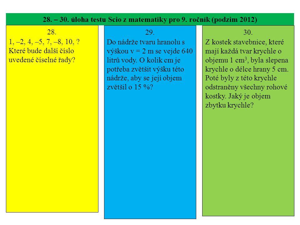28. – 30. úloha testu Scio z matematiky pro 9. ročník (podzim 2012) 28. 1, –2, 4, –5, 7, –8, 10, ? Které bude další číslo uvedené číselné řady? 29. Do