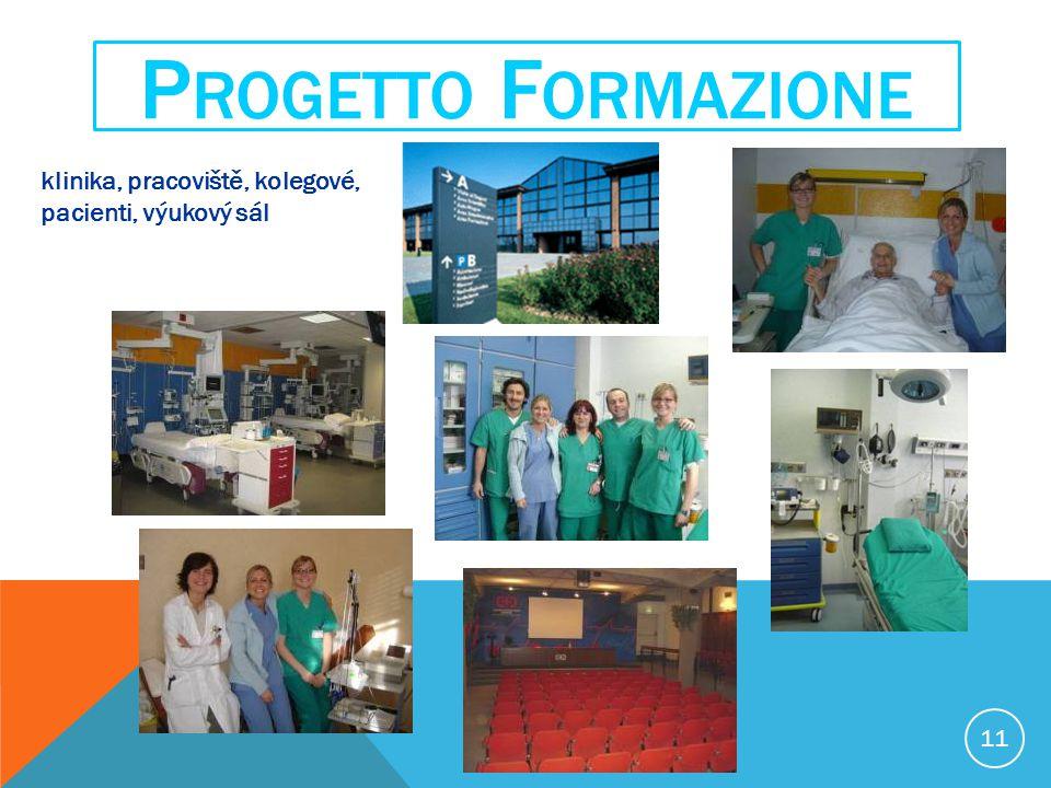 11 P ROGETTO F ORMAZIONE klinika, pracoviště, kolegové, pacienti, výukový sál