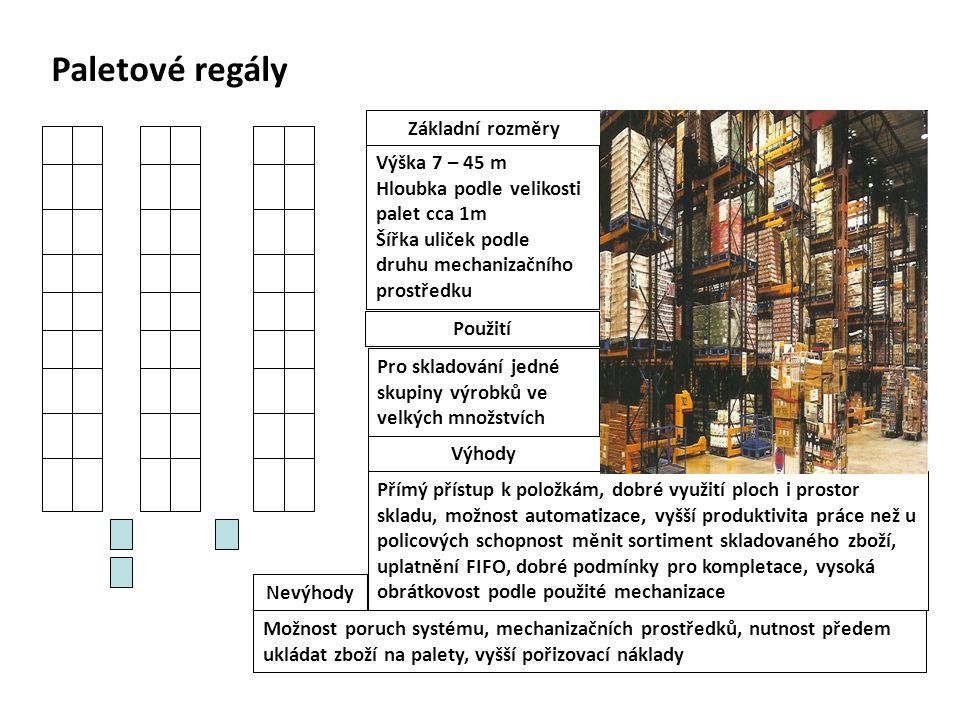 Paletové regály Výška 7 – 45 m Hloubka podle velikosti palet cca 1m Šířka uliček podle druhu mechanizačního prostředku Základní rozměry Přímý přístup k položkám, dobré využití ploch i prostor skladu, možnost automatizace, vyšší produktivita práce než u policových schopnost měnit sortiment skladovaného zboží, uplatnění FIFO, dobré podmínky pro kompletace, vysoká obrátkovost podle použité mechanizace Výhody Možnost poruch systému, mechanizačních prostředků, nutnost předem ukládat zboží na palety, vyšší pořizovací náklady Nevýhody Pro skladování jedné skupiny výrobků ve velkých množstvích Použití