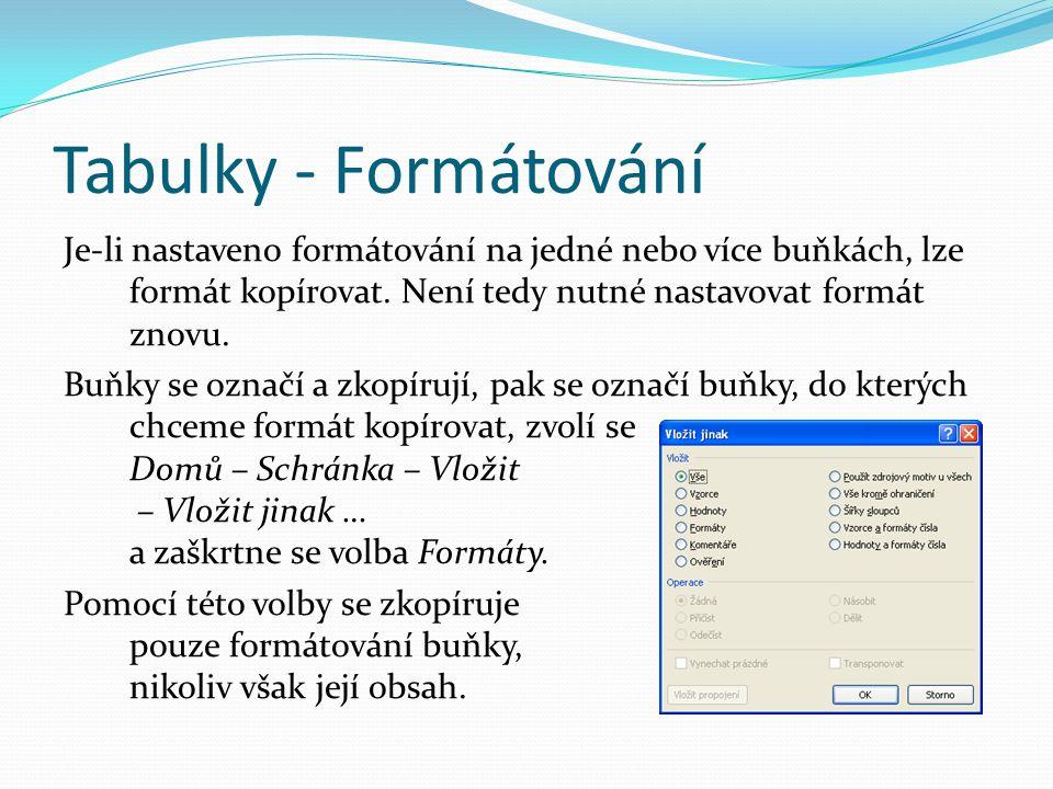 Tabulky - Formátování Je-li nastaveno formátování na jedné nebo více buňkách, lze formát kopírovat.